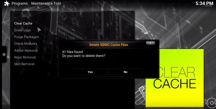 kodi clear cache