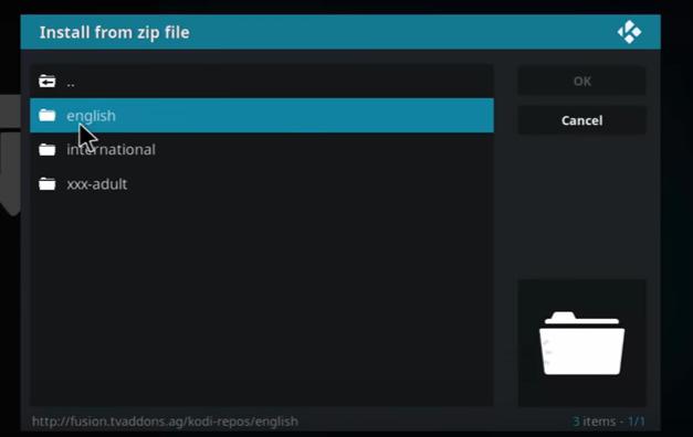 kodi install addon from zip