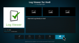 how to check the log on kodi