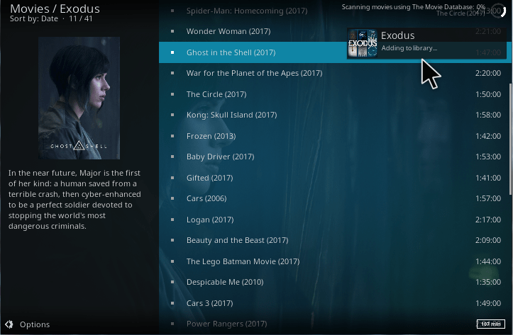 how to add movies to kodi library
