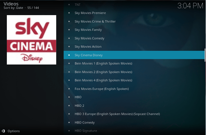 sky channels on kodi