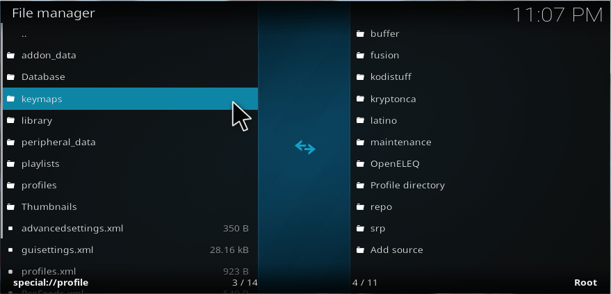 kodi file manager show hidden folders