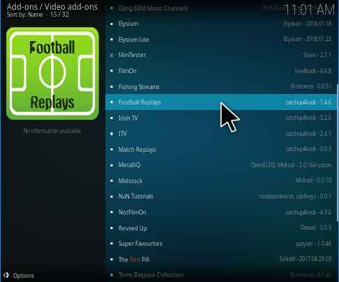 Football Replays kodi addon installation guide and review 2019