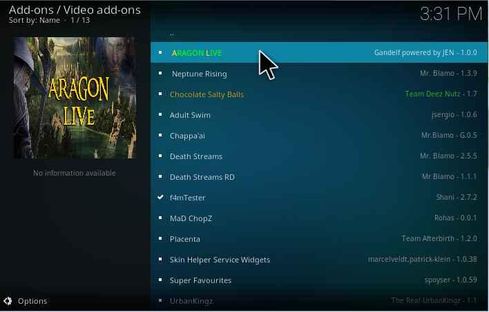 Aragon Live Kodi addon Installation guide - Kodiforu
