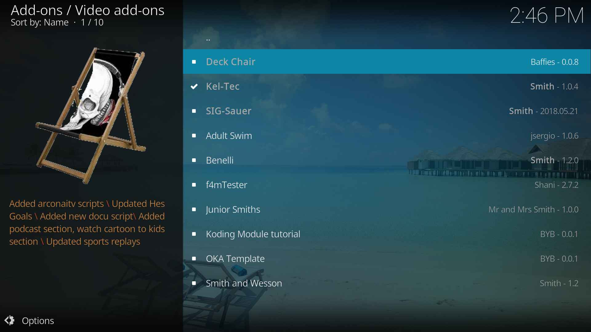 Deck Chair Kodi addon Review and installation guide with